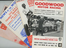 4 Goodwood motor racing  original  programmes. 1960 -1965  Jaguar,Ferrari Aston Martin.