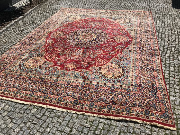 Old and Unique Persian Kerman Rug 405x305 cm -hand knotted - OLD  with signature