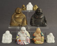 Collection Happy Buddha sculptures, incl. bronze, famille rose and Blanc de Chine – China – late 20th century