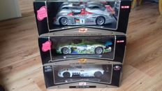 Maisto GT Racing - Scale 1/18 - Lot with 3 x Le Mans models: 1 x BMW V12 & 2 x Audi R8