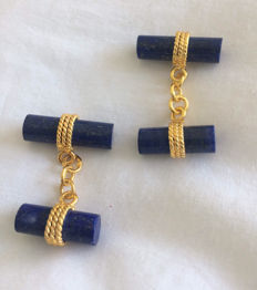 Vintage Gilt Lapis Lazuli men's cuff Links 925, ca.  1970