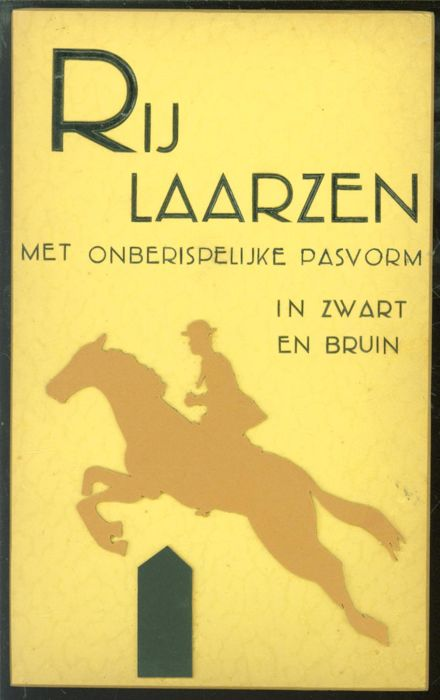 "Hand-made cardboard shop advertising for the stores of ""Van Woensel Schoenen - Rijlaarzen met onberispelijke pasvorm in zwart en bruin"". - from the 50s"