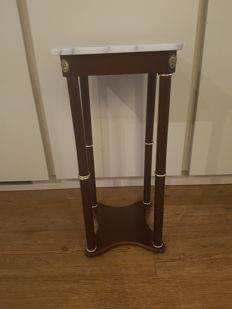 Walnut pedestal with marble top, second half of 20th century