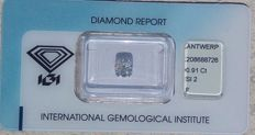Beautiful colorless 0.91ct cushion modified brilliant diamond - Sealed and certified through IGI