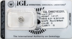1.01 ct brilliant cut diamond  G  I3