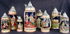 Lot of 8 beer steins - porcelain & Tin