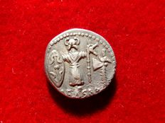 Roman Republic - Julius Caesar silver denarius (3,99g, 17mm). Travelling military mint, 48-47 BC.