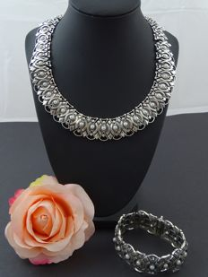Silver 925 kt set with necklace and bracelet, 45 and 18 cm