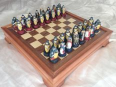 Historical Medieval chess made of porcelain painted by hand with documentation