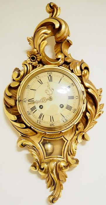Swedish Westerstrand gilt hand carved wood wall clock - XXth century