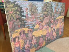 Large old painting in the sawas with women, men and children - signed by Mastika Kutuh - Ubud - Bali - Indonesia - ca. 1970
