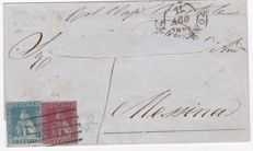 Toscana 1853 letter Via Mare 1+2 cr Sassone no. 5+4 Messina to Livorno