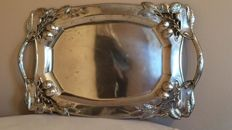 Art Nouveau silver tray with floral motives