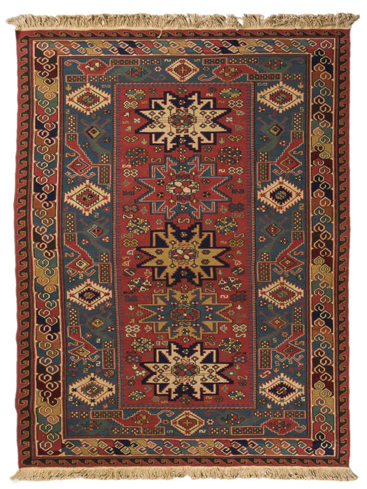 Authentic and Original  Oriental Rug SUMAK (Sumakh) Tibet, (size: 202 cm x 140 cm) with Certificate of Authenticity from an official appraisal expert  – (Galleria Farah 1970)