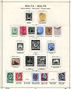 Malta 1884/1986 - collection on Schaubek leaves