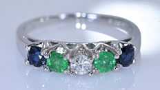 Sapphire, Emerald, Diamond ring - No reserve price!