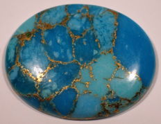 Natural turquoise in blue with big gold flakes  - 31.60 x 25.03 x 4.76mm - 28.65ct