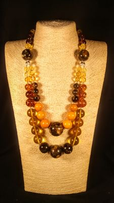 Colourful Baltic Amber necklace, 134 grams