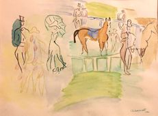 G. Lemort   (French 19th - 20th Century) - Elegants , Longchamps racecourse