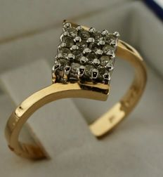 14 kt Gold ring inlaid with diamond – Ring size: 17.5 - no minimum price