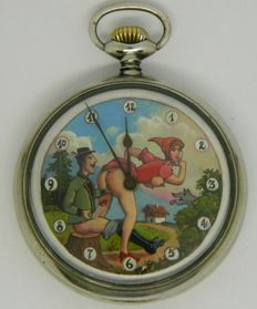 Pocket Watch with sex scène: Little Red Riding Hood and the hunter - ca. 1910
