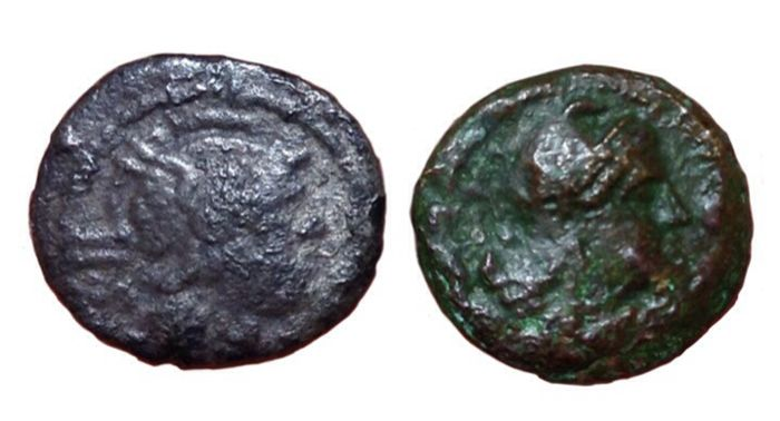 Roman Republic - Lot of two (2) coins - Anonymous issue, AR Sestertius (13mm; 1,00g.) and Romano-Campanian - Æ Half Litra (12,5mm; 1,48g.) - Rome mint - Cr. 44/7 / Cr. 26/4