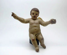 Cherub Angel, polychrome wood carving with glass paste eyes - Spanish Baroque period - late 18th century