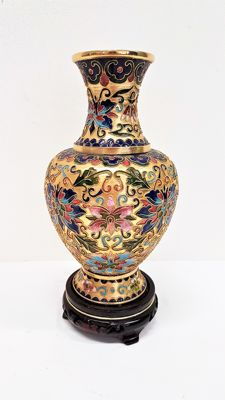 Floral champleve vase - China - second half 20th century