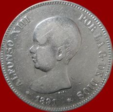 Spain – Alfonso XIII – 5 pesetas silver coin – 1891 PG-M