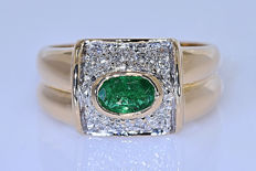 Emerald with Diamonds, designer ring - No reserve price!