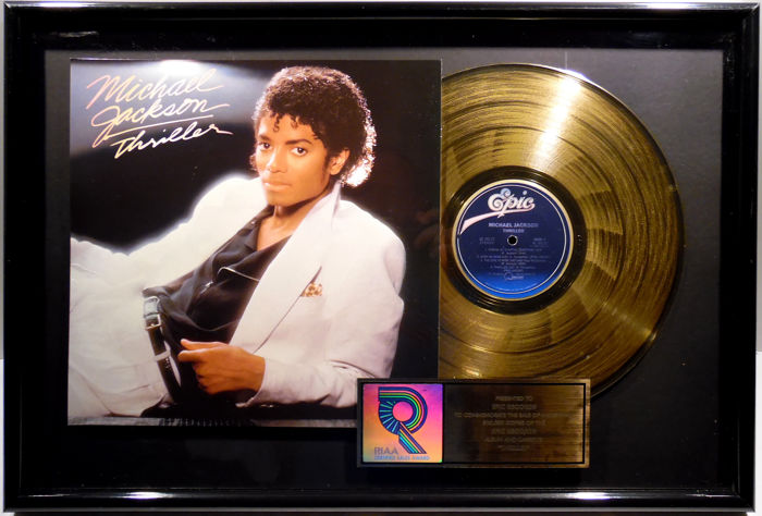 michael jackson thriller us riaa golden costum music award goldene schallplatte original. Black Bedroom Furniture Sets. Home Design Ideas