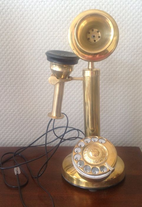 Gorgeous decorative brass telephone with separate horn.