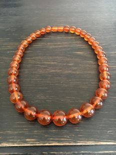 Old Baltic Amber necklace with original box from 2nd half of 20th century, USSR era. 42 gr.