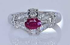 1.37 ct Ruby with Diamonds ring - No reserve price!
