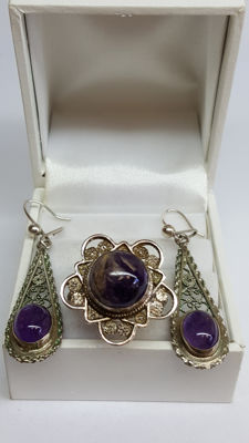 925 silver set of filigree earrings and a ring set with amethyst