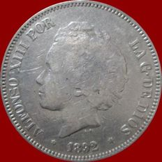 Spain – Alfonso XIII – 5 pesetas silver coin – 1892 MP.