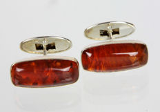 Silver cufflings with amber approx. 1930