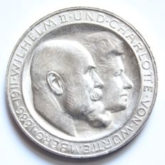 Württemberg – 3 Mark 1911 F – Silver wedding anniversary