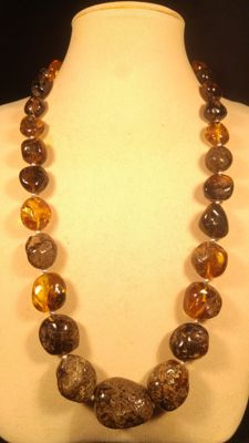 100% Genuine Baltic Amber necklace, 78 grams
