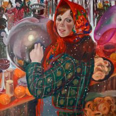 Inna Alekseyenva Shirokova.  (1937-) - Girl with samovar.