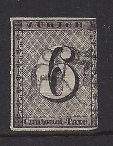 Switzerland, Zurich district 1843 - Number 6 Rappen - Michel 2 I