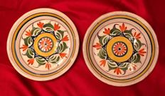 A pair of french  faience plates, late 18th Century , probably Nevers