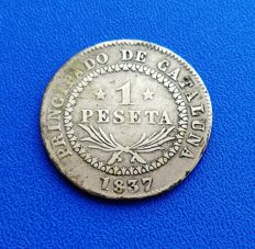 Spain – 1 Peseta 1837 silver – CATALONIA  – Isabel II (ticket auction Martí Hervera).