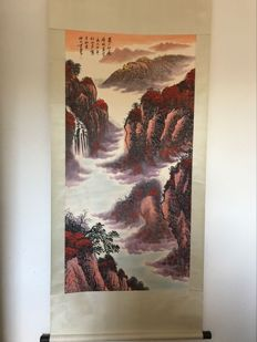 Hand painted scrolls painting, made after Li Keran - China - late 20th century