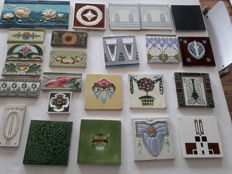 Collection/Lot of 25 Antique Art Nouveau and Art Deco Tiles