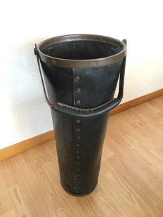 Unknown designer – Umbrella stand, leather with bronze rivets