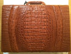 Briefcase in genuine crocodile skin