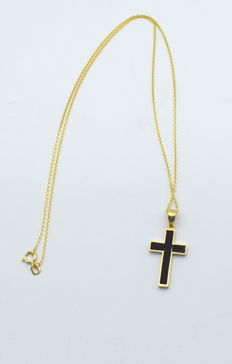14 carat yellow and white gold chain with black hematite stone cross  pendant - 45 cm