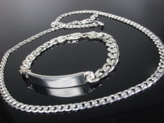 925 silver bracelet and necklace curb chain necklace