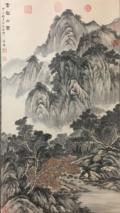 Hand painted scroll of landscape - China - late 20th century